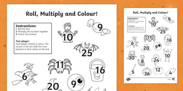 Halloween Themed Multiplication (2 dice) Roll and Colour Activity Sheet