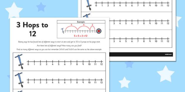 3 Hops to 12 Activity Sheet - number line, activity, 3 hops, 12, worksheet