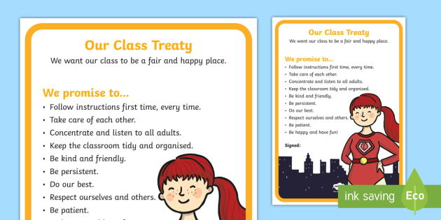 Class Treaty Superhero Themed Display Poster Back To School Rules