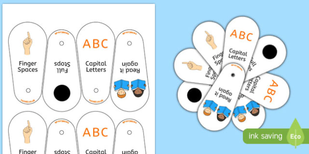 Writing Prompt Fans - Writing fans, writing aid, writing aids, fans, punctuation, finger spaces, full stop, how to write a sentence, capital letter, write it again, foundation stage literacy, letters and sounds, DfES, KS1