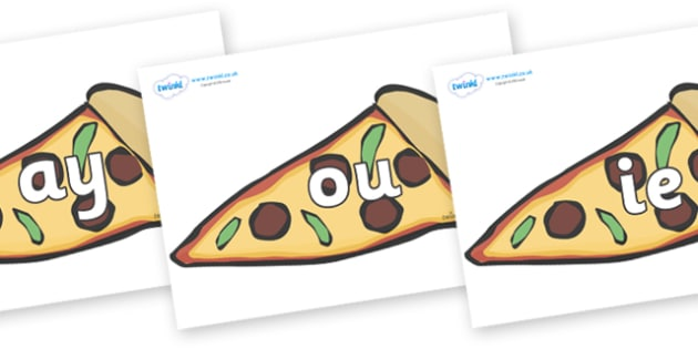 Phase 5 Phonemes on Pizza Slices - Phonemes, phoneme, Phase 5, Phase five, Foundation, Literacy, Letters and Sounds, DfES, display