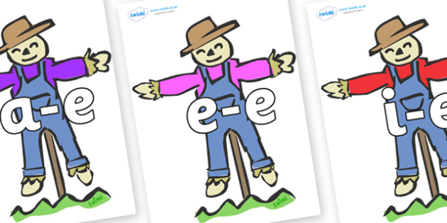Modifying E Letters on Scarecrows - Modifying E, letters, modify, Phase 5, Phase five, alternative spellings for phonemes, DfES letters and Sounds