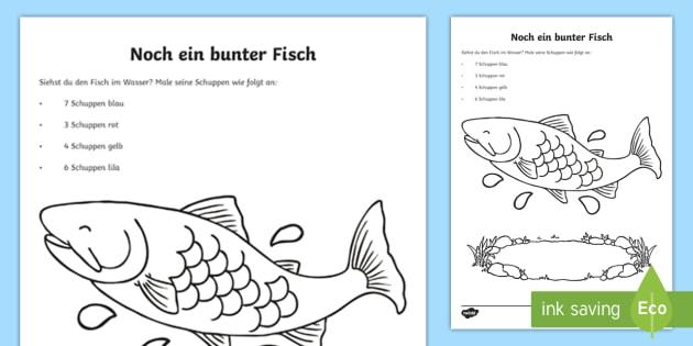Ein bunter Fisch Arbeitsblatt: Erstes Zählen - Sommer