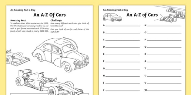 Editable An A-Z of Cars Activity Sheet