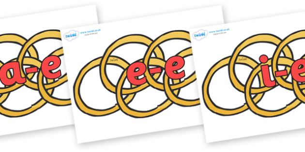 Modifying E Letters on Five Gold Rings - Modifying E, letters, modify, Phase 5, Phase five, alternative spellings for phonemes, DfES letters and Sounds