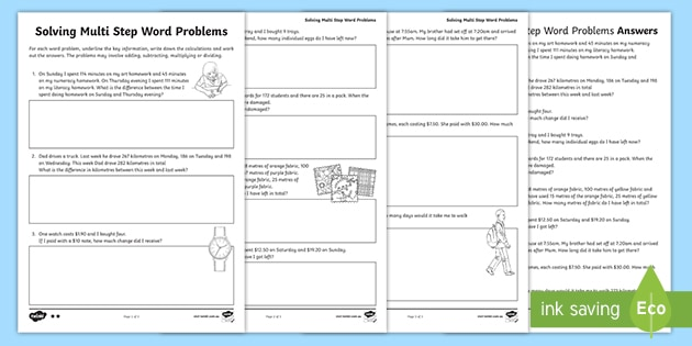 Two-Step Maths Word Problems Differentiated Worksheets