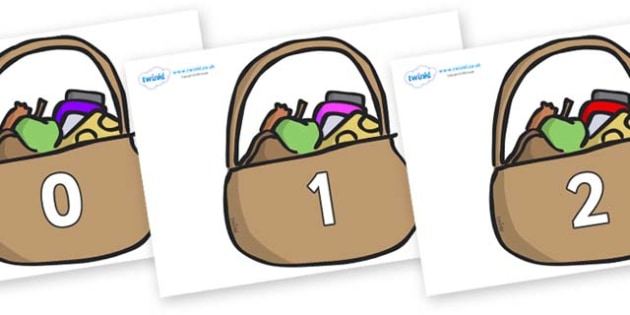 Numbers 0-50 on Baskets - 0-50, foundation stage numeracy, Number recognition, Number flashcards, counting, number frieze, Display numbers, number posters