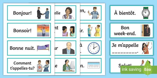 French Greetings Flashcards Teaching Resource Languages