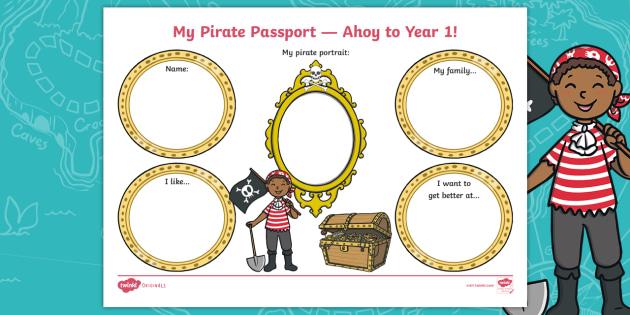 moda designerului culori delicate cel mai bun ieftin Jake's First Day My Pirate Passport - Ahoy Year 1! Worksheet ...