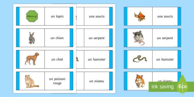 Animal Card Game French - French Games, animals, French animal names,Scottish