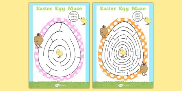 Easter Egg Shaped Maze Activity Sheet Pack - easter, easter egg, shape maze, maze, worksheet