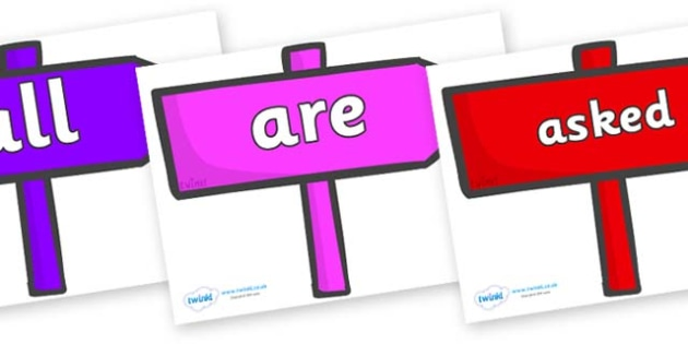Tricky Words on Signposts - Tricky words, DfES Letters and Sounds, Letters and sounds, display, words