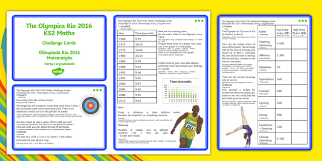 The Olympics Rio 2016 UKS2 Maths Challenge Cards Polish Translation - polish, KS2 Maths, Olympics, Rio, sevens, rugby, target, archery, tickets, halving, olympic torch