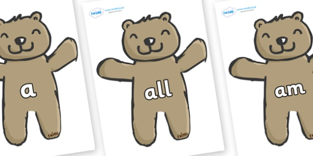 Foundation Stage 2 Keywords on Teddy Bears - FS2, CLL, keywords, Communication language and literacy,  Display, Key words, high frequency words, foundation stage literacy, DfES Letters and Sounds, Letters and Sounds, spelling