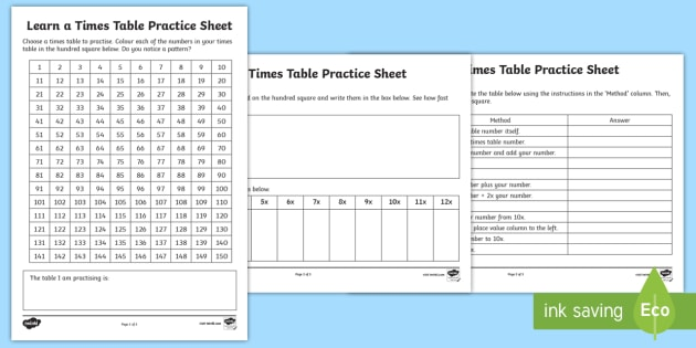 Learn A Times Table Practice Worksheet Activity Sheet