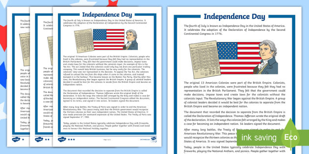 Independence Day Worksheets Differentiated Reading Worksheet
