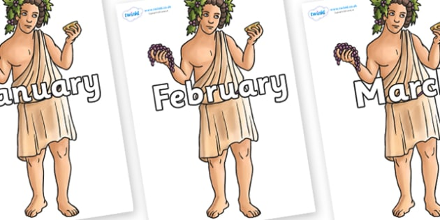 Months of the Year on Dionysus - Months of the Year, Months poster, Months display, display, poster, frieze, Months, month, January, February, March, April, May, June, July, August, September