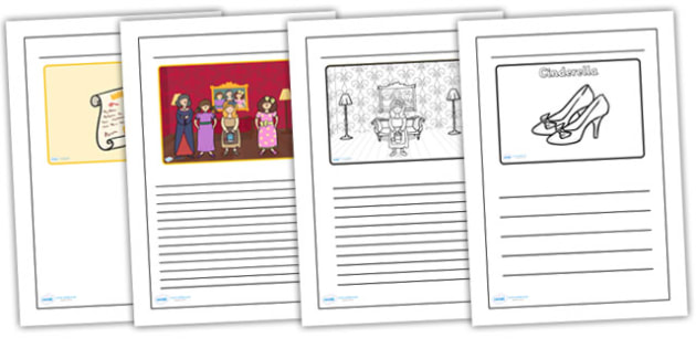 Cinderella Black and White Lined Writing Frames - cinderella, cinderella writing frames, cinderella colour and write, traditional tale colour and write