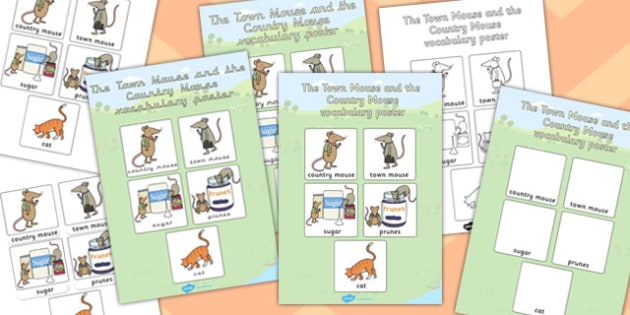 The Town Mouse and the Country Mouse Vocabulary Poster - poster