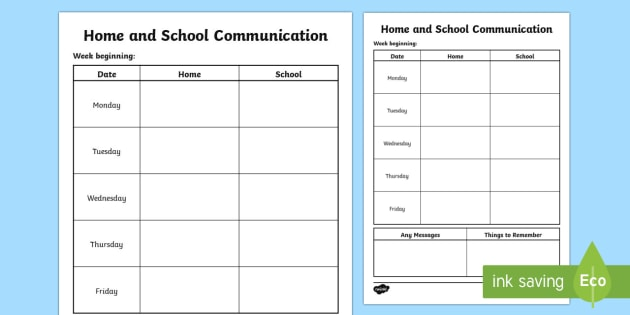 Home and School Communication Table - home, school, communication, table, communicate