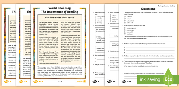 UKS2 World Book Day Differentiated Reading Comprehension ...