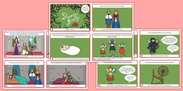 Sleeping Beauty Story Cards Polish Translation - polish, sleeping beauty, story, cards
