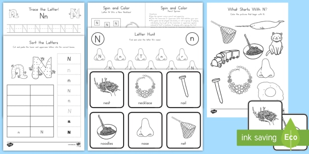 letter n activity pack alphabet packets letter formation letter identification beginning sounds