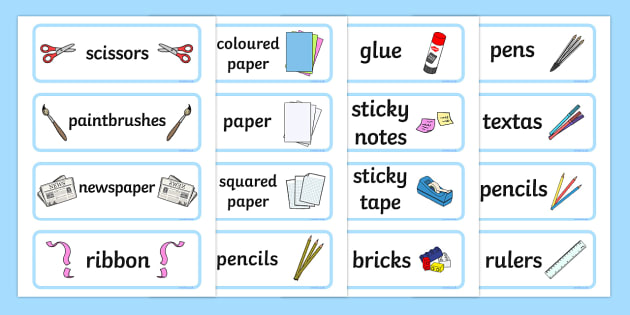 Classroom Equipment Tray Labels - tray labels, labels, signs
