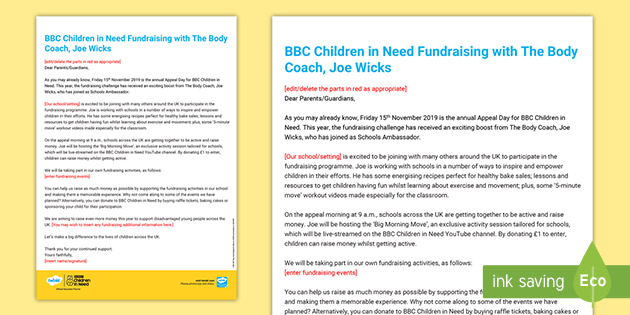 * NEW * BBC Children in Need Joe Wicks Letter