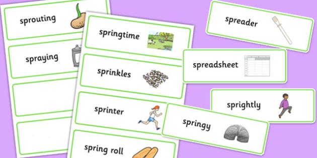 Two Syllable SPR Word Cards - sen, sound, spr sound, spr, two syllable, word cards