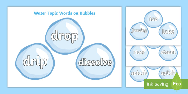 Water Topic Words on Bubbles - Water topic, bubble, bubbles, area, drop, droplet, water play, water, water display, splash, drop, drip, wet, float, sink