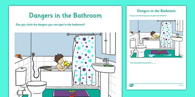 Dangers In The Bathroom Worksheet Worksheet Teacher Made