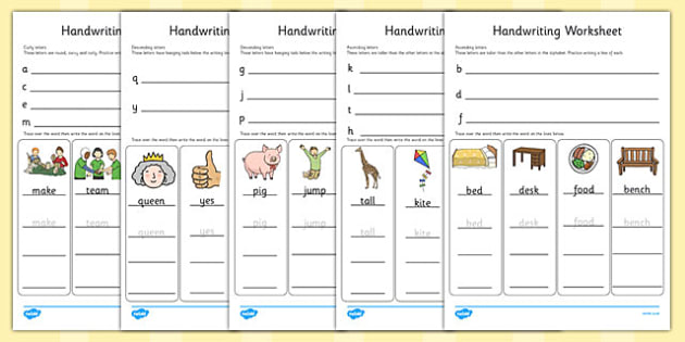 Handwriting Worksheets Letter Formation Writing English Fine