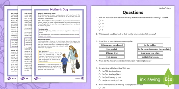 Mother S Day Comprehension Activity Teacher Made
