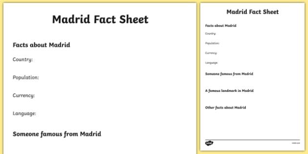 Madrid Factsheet Writing Template - madrid, spain, madrid fact sheet, madrid fact file, madrid worksheet, facts about madrid, spanish capital, ks2