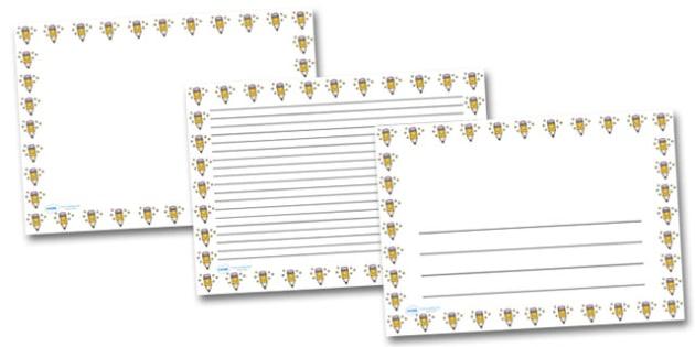 Smiley Pencil Landscape Page Borders- Landscape Page Borders - Page border, border, writing template, writing aid, writing frame, a4 border, template, templates, landscape