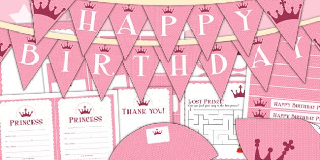 Princess Themed Birthday Party Pack - parties, birthdays, pack