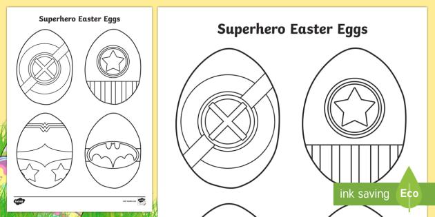 Superhero Easter Eggs Colouring Page - easter egg, superhero, colouring