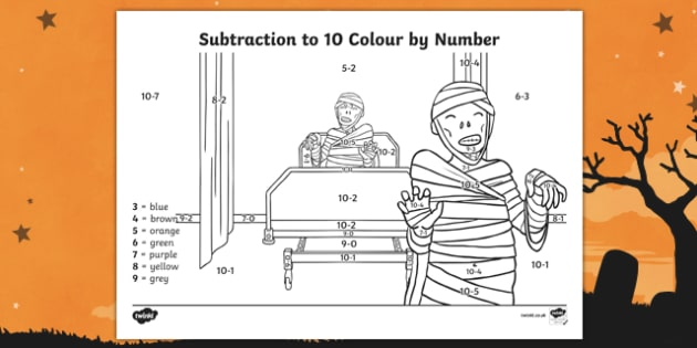 Halloween Themed Subtraction to 10 Colour by Number