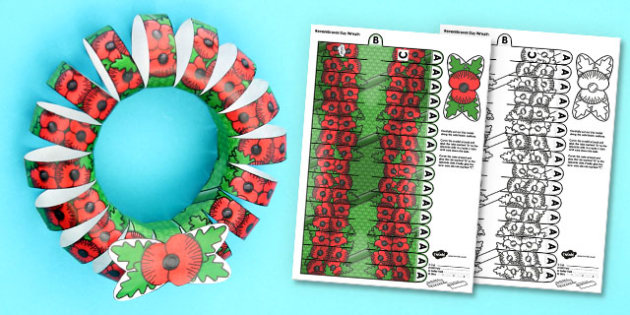 Image result for paper poppy wreath twinkl""