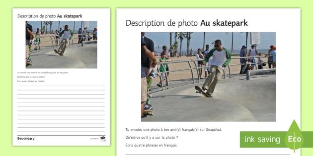 Skatepark Photo Description Worksheet Activity Sheet French