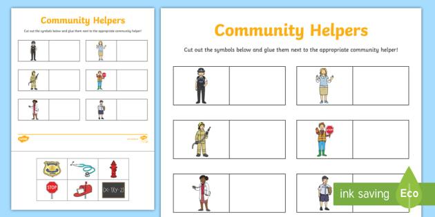 Community Helpers Symbol Sorting Cut And Glue Worksheet