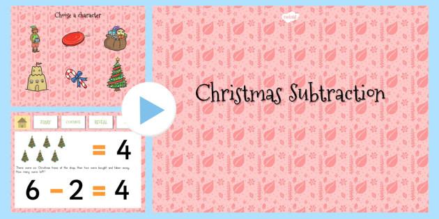 Christmas Subtraction to 10 PowerPoint - australia, christmas