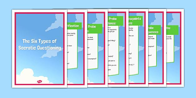 Socratic Questioning Types Posters - socratic questioning, questioning, discussion, philosophy