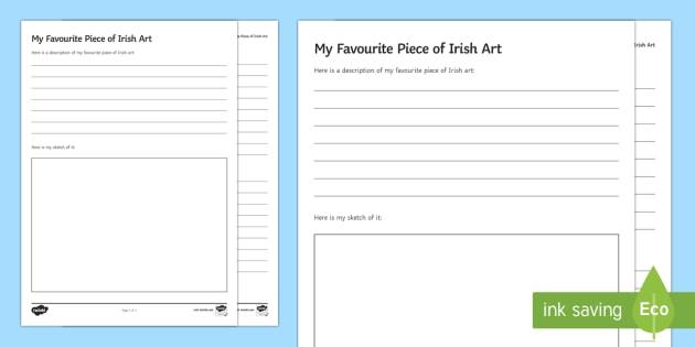 My Favourite Piece of Irish Art Activity Sheet - Irish Art Resources, art strands, display resources, favourite piece of Irish art, artist, art appre