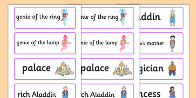 Aladdin Word Cards - aladdin, word cards, key words, stories