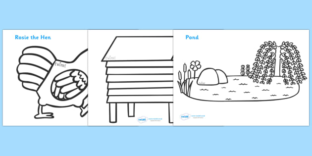 Colouring Sheets to Support Teaching on Rosie's Walk - Rosie's Walk, story, Pat Hutchins, book, resources, colouring, fine motor skills, Rosie, fox, farm, story book, story resources, Rosie Walk