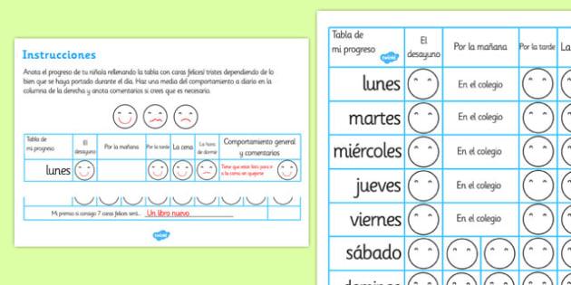 Home Behaviour Progress Chart Spanish - spanish, home behaviour progress chart, progress, home, behaviour, charts, chart, award, well done, reward, medal, rewards, school, general, achievement