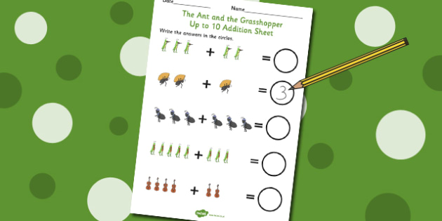 The Ant and the Grasshopper Up to 10 Addition Sheet - Grasshopper