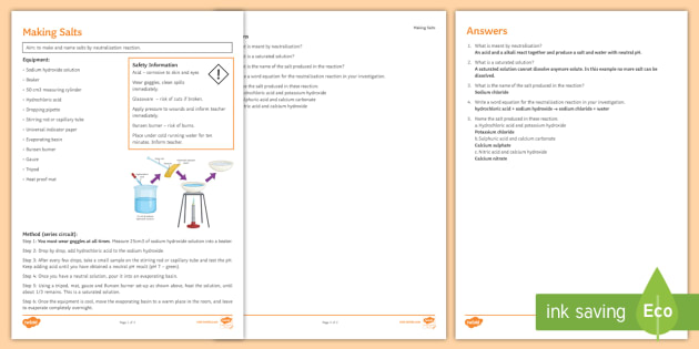 Making Salts Investigation Instruction Sheet Print-Out - Investigation Help Sheet, science practical, method, instructions, salt, making salt, making salts,